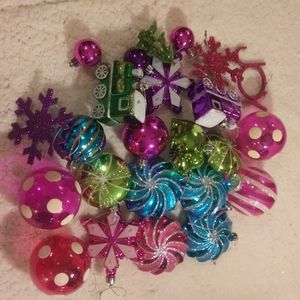 Lot of 24 Colorful Christmas Ornaments